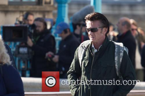 Actor Sean Penn filming the his new movie 'The Gunman'