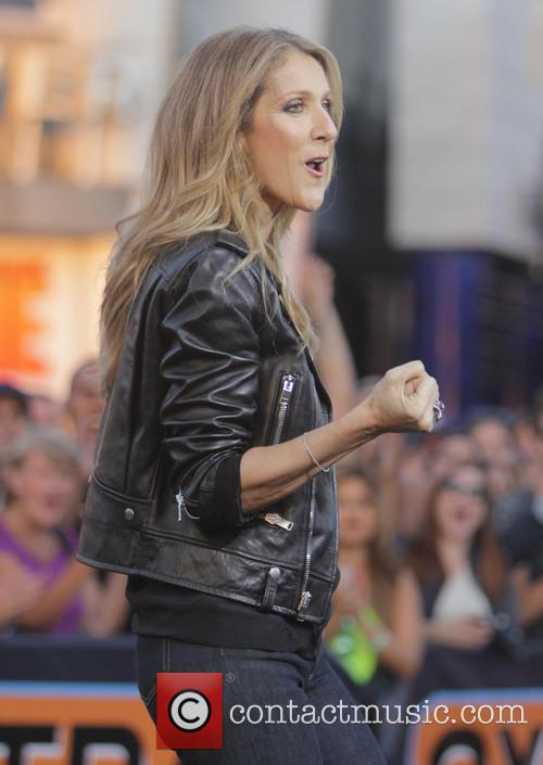 Celine Dion makes an appearance on the set of 'Extra'