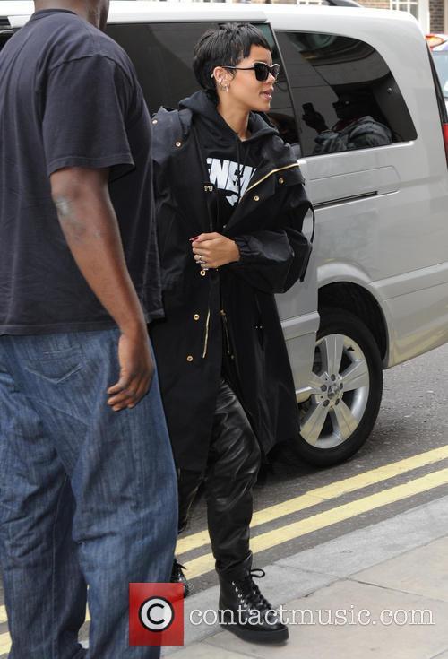rihanna seen at london hotel