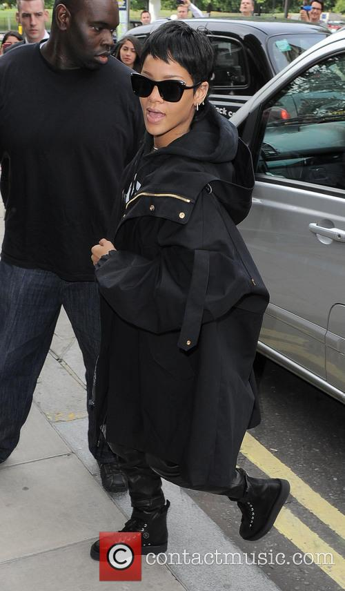 Rihanna arrives at her hotel