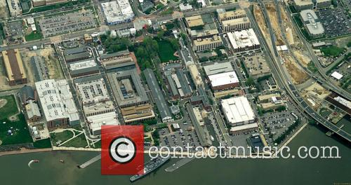An aerial view of the Washington Navy Yard