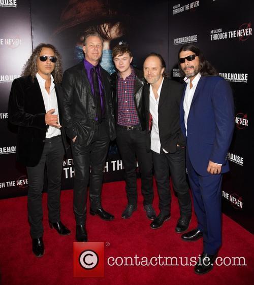 Kirk Hammett, James Hetfield, Dane Dehaan, Lars Ulrich and Robert Trujillo 1