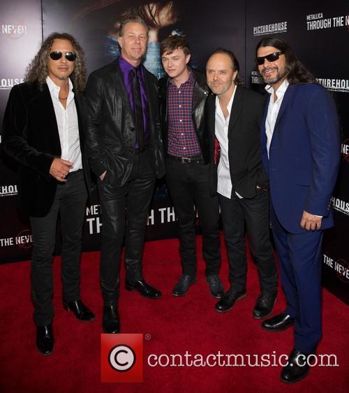 Kirk Hammett, James Hetfield, Dane Dehaan, Lars Ulrich and Robert Trujillo 3
