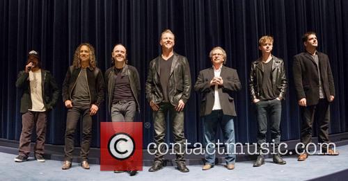 Robert Trujillo, James Hetfield, Lars Ulrich, Kirk Hammett, Dane Dehaan and Nimrod Antal 5
