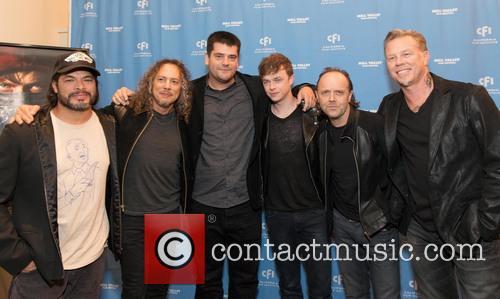 Robert Trujillo, Kirk Hammett, Nimrod Antal, Dane Dehaan, Lars Ulrich, James Hetfield and Metallica 6