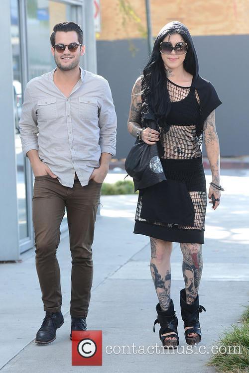 Kat Von D heads to Urth Cafe with a friend