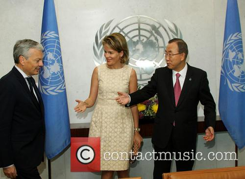 Didier Reynders, Queen Mathilde and Ban Ki Moon 1