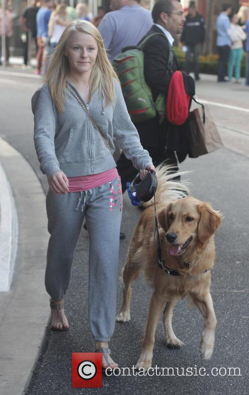 Hollie Cavanagh walking her dog at The Grove