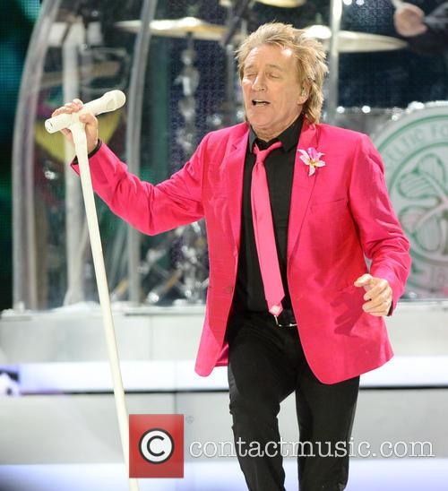 Rod Stewart performing at the O2 Arena