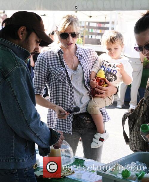 Selma Blair at the farmers market with her son