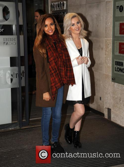 Jade Thirlwall and Perrie Edwards outside Radio 1