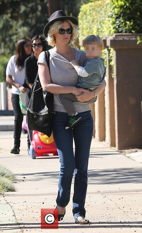 January Jones out and about with son Xander