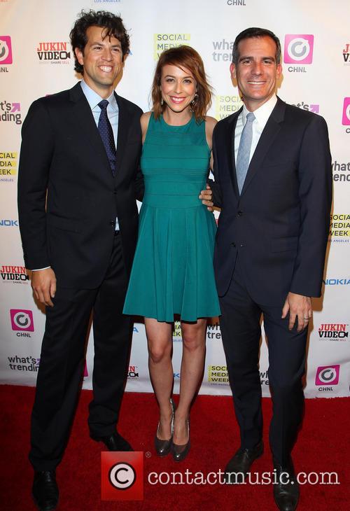 Drew Baldwin, Shira Lazar and Eric Garcetti 2