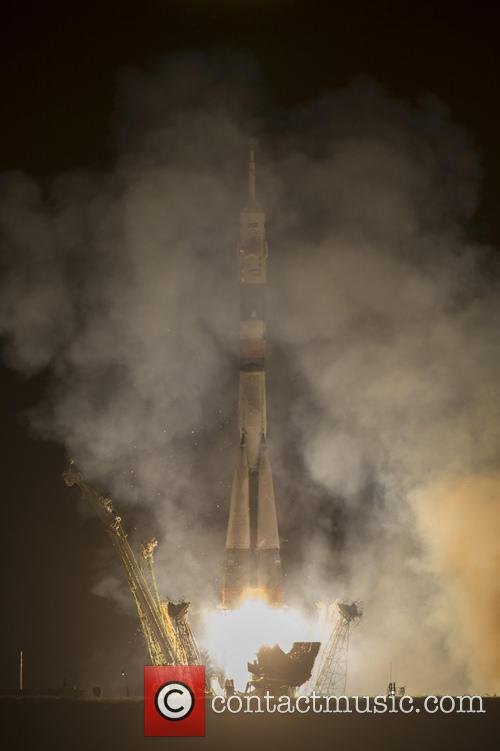 The Soyuz TMA-10M rocket launches from the Baikonur...