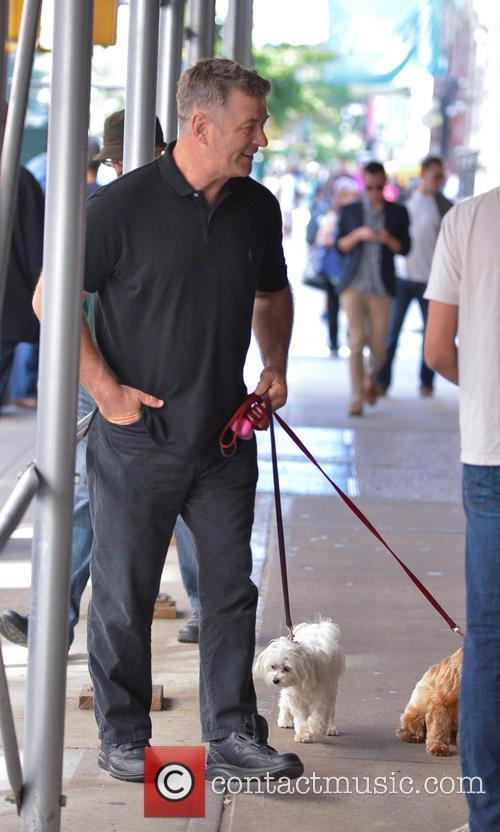 Alec Baldwin walking with family in Manhattan