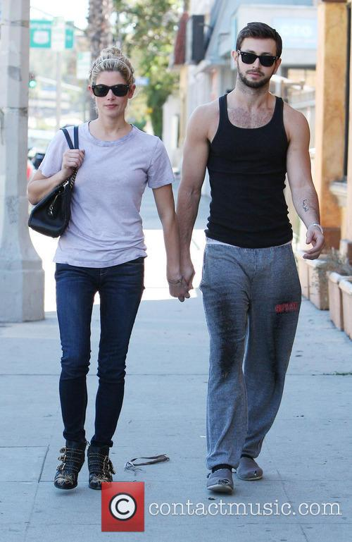 Ashley Greene walking with her boyfriend