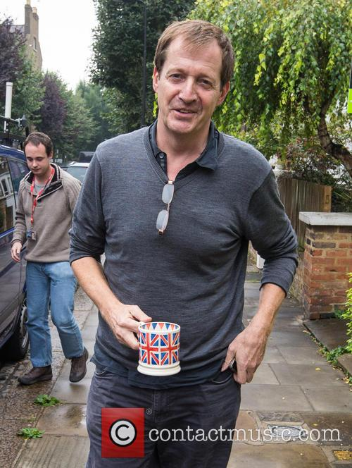 Alastair Campbell is seen in good spirits