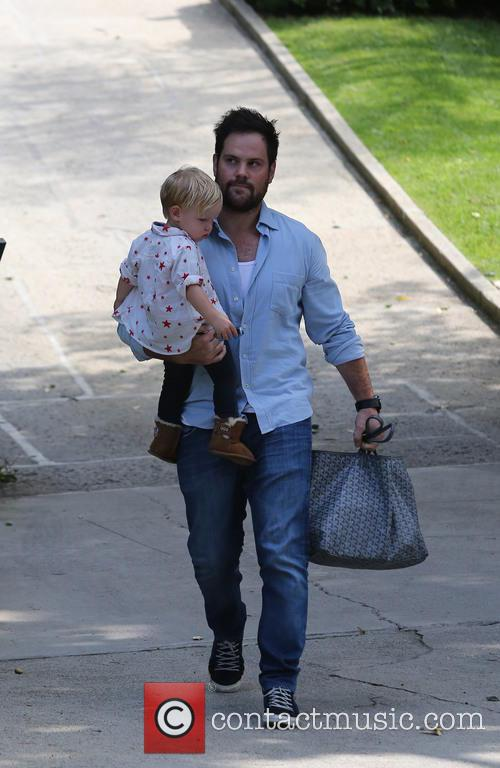 Mike Comrie out and about with Baby Luca