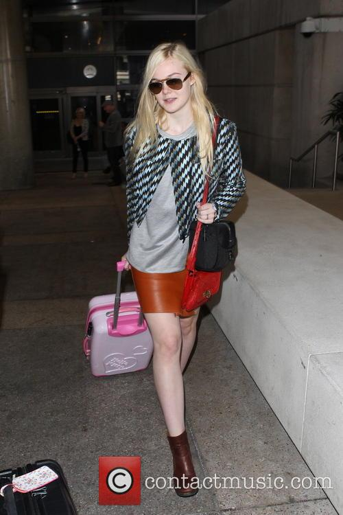 Elle Fanning arriving at LAX