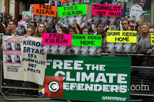 Greenpeace protests the arrests of  30 activists...