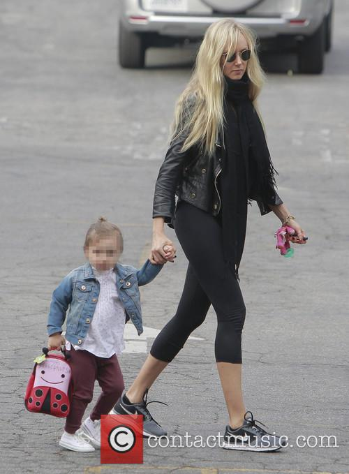 Kimberly Stewart takes daughter Delilah to school