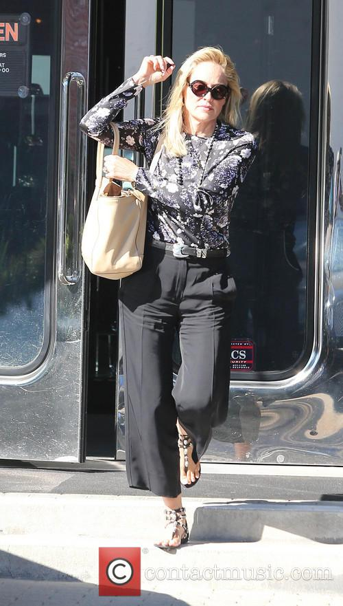 Sharon Stone In Mono Floral Top