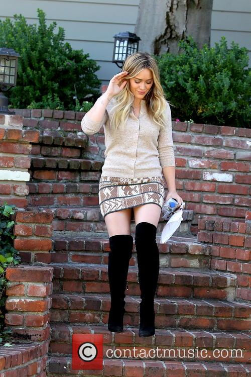 Hilary Duff In Thigh Length Boots