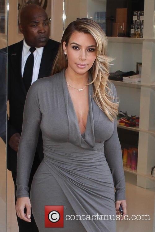 Kim Kardashian Grey Dress