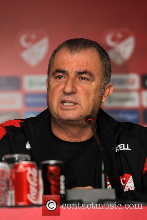 Fatih Terim speaks at a press conference