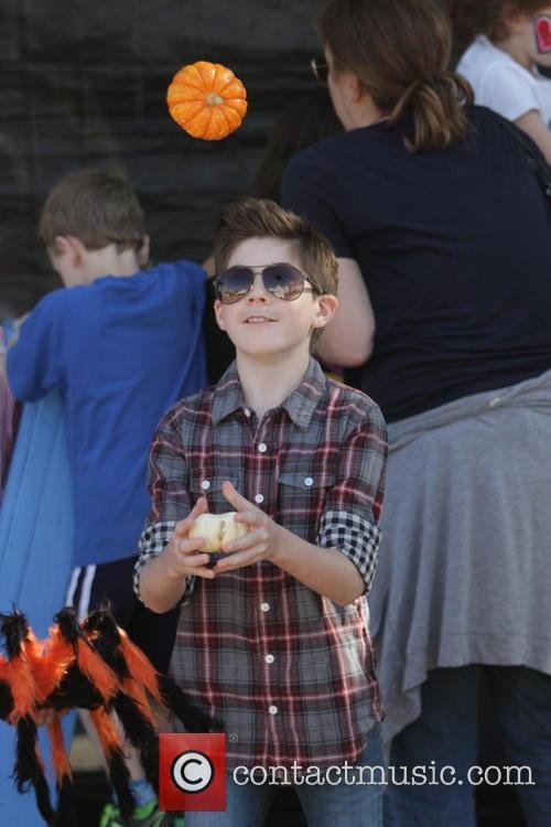 Celebrities seen at Mr.Bones Pumpkin Patch in West...
