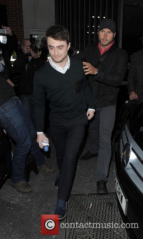 Daniel Radcliffe arriving at the Kiss 100 studios