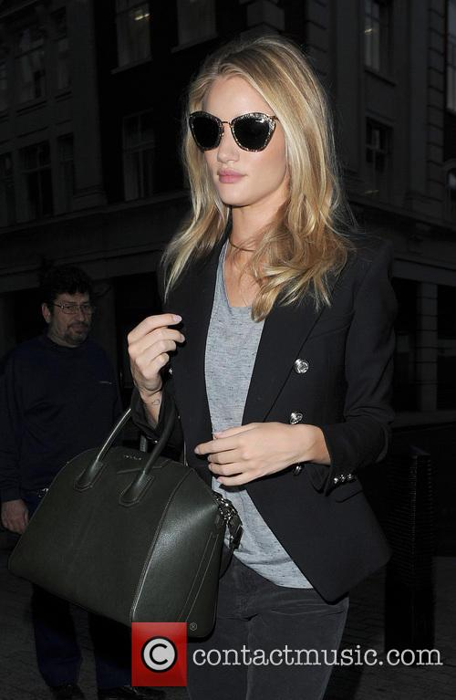 Rosie Huntington-Whiteley arriving at the Radio 1 studios