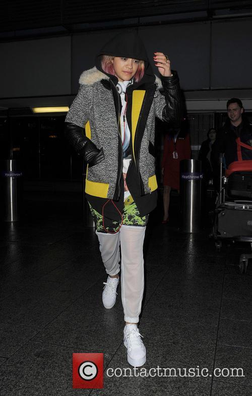 Rita Ora and sister Elena Ora arrive at Heathrow airport