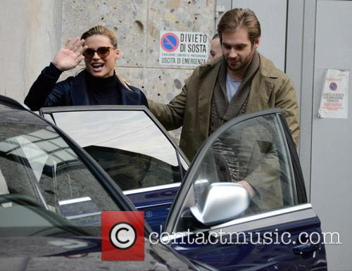 Michelle Hunziker and Tomaso Trussardi visit Cafe Trussardi