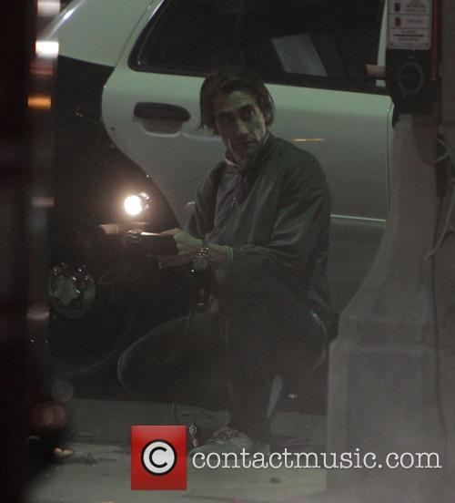Jake Gyllenhaal on the set of 'Nightcrawler' in LA