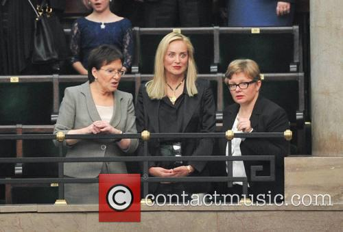 Sharon Stone visits the Polish parliament in Warsaw