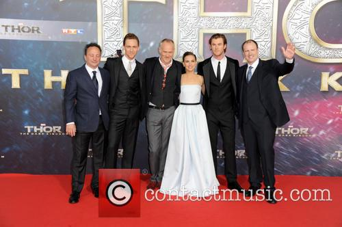 Chris Hemsworth, Tom Hiddleston, Alan Taylor, Natalie Portman, Louis D Esposito and Kevin Feige 3