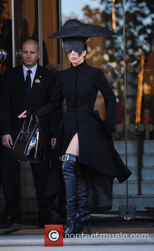 Lady Gaga leaving her london hotel wearing a...