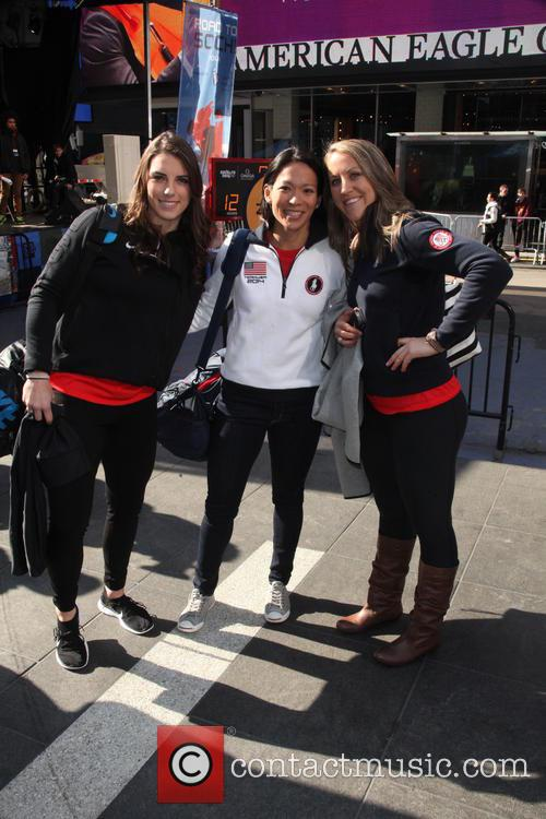 Hockey, Hilary Knight, Julie Chu, Meghan Duggan and Celebration 1