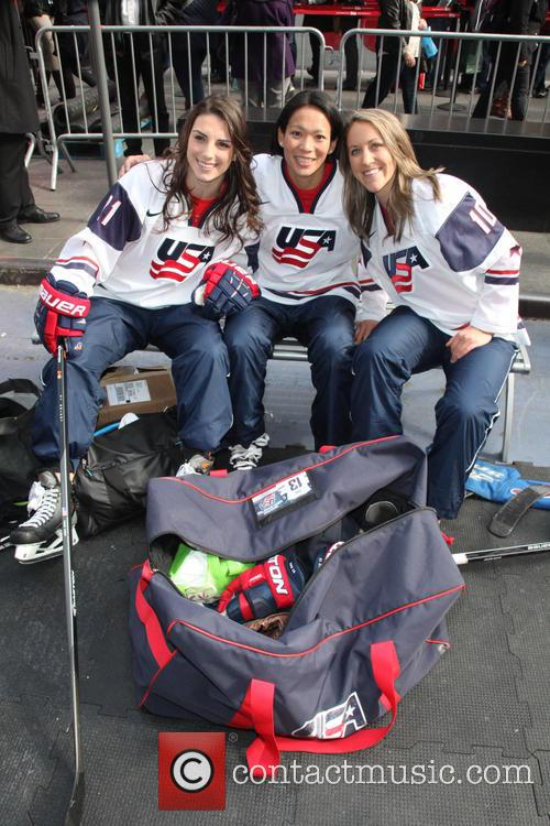 Hockey, Hilary Knight, Julie Chu, Meghan Duggan and Celebration 3