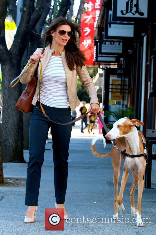 Danielle Vasinova walking her dog
