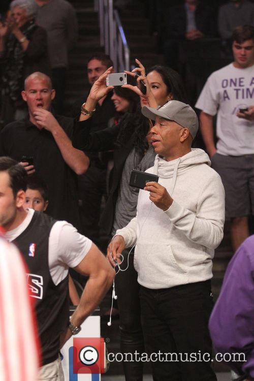 Celebrities watch the Los Angeles Lakers play NBA...