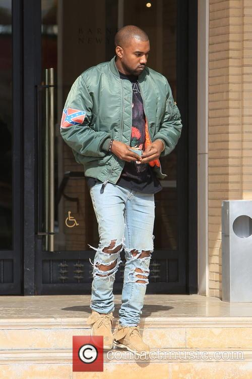 Kanye West leaving Barney's in New York