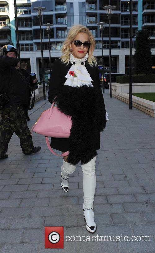 Rita Ora leaving the Radio 1 studios and...
