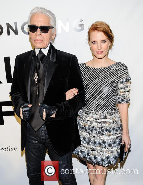 Jessica Chastain and Karl Lagerfeld 7