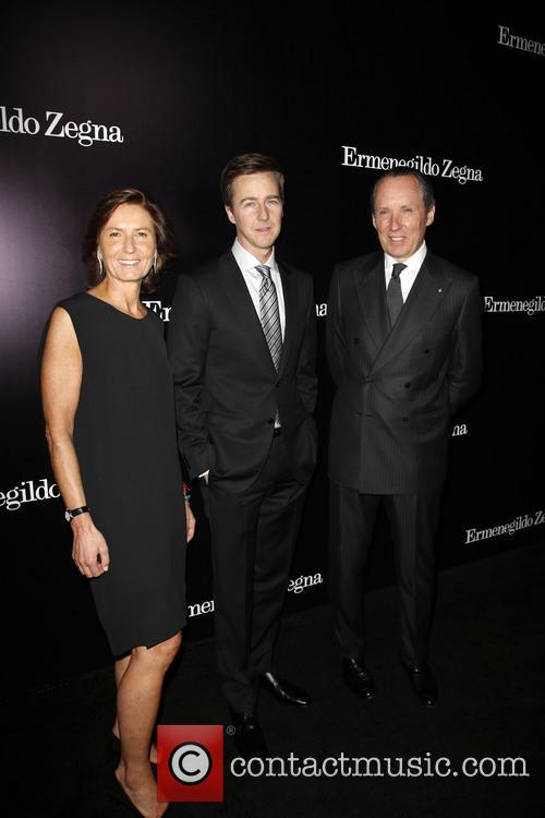 Anna Zegna, Edward Norton and Gildo Zegna 4