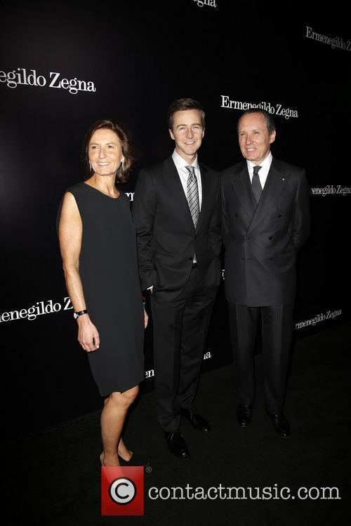 Anna Zegna, Edward Norton and Gildo Zegna 8