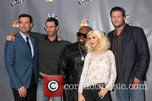 Christina Aguilera, Blake Shelton, Carson Daly and Ceelo Green 6