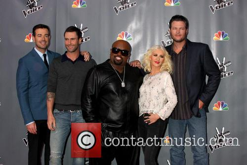 Christina Aguilera, Blake Shelton, Carson Daly and Ceelo Green 7