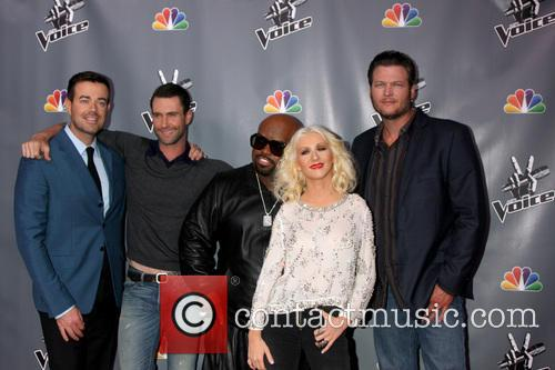 Christina Aguilera, Blake Shelton, Carson Daly and Ceelo Green 8